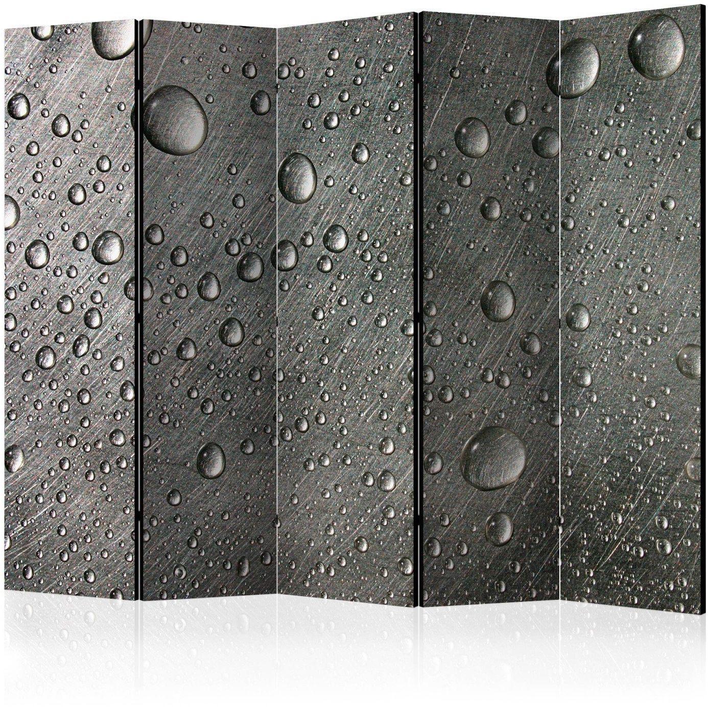 Parawan 5-częściowy - stalowa powierzchnia z kroplami wody ii [room dividers]