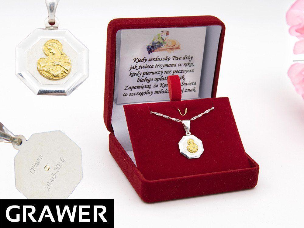 Srebrny medalik Matka Boska karmiaca pozłacana