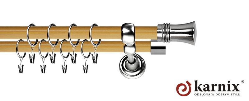 Karnisz Metalowy Prestige podwójny 19/19mm Capri INOX - pinia