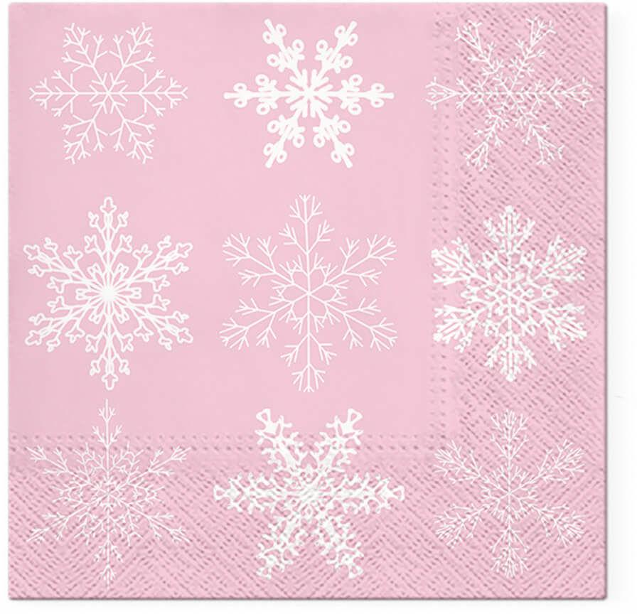 Serwetki bożonarodzeniowe Płatek śniegu różowe - 33 cm - 20 szt.