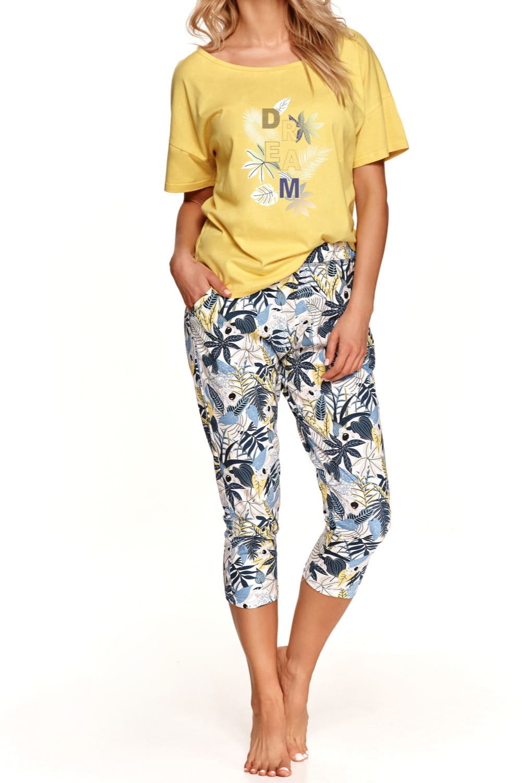 Bawełniana piżama damska TARO 2491 Kali żółta