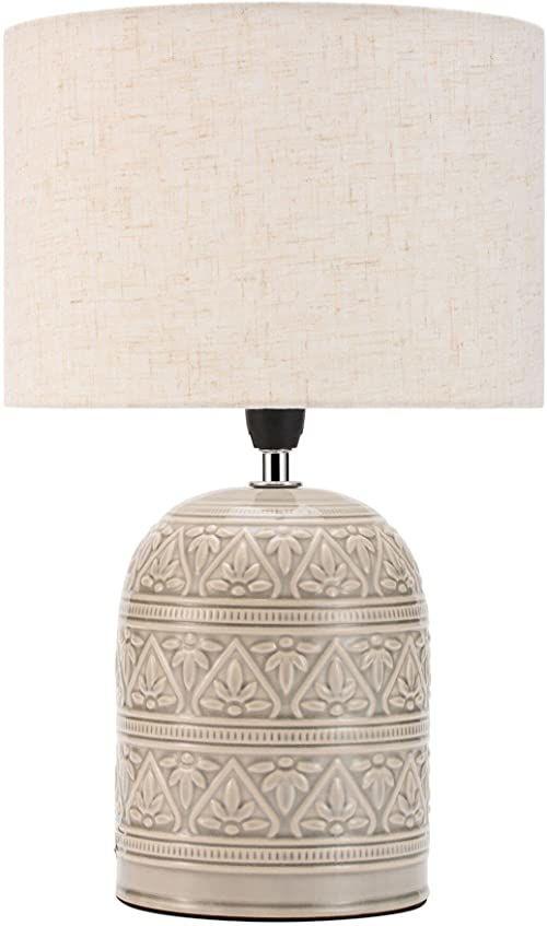 Pauleen 48223 Tender Pearl lampa stołowa maks. 20 W ręcznie robiona beżowa lampka nocna w stylu boho z materiału, ceramika E14