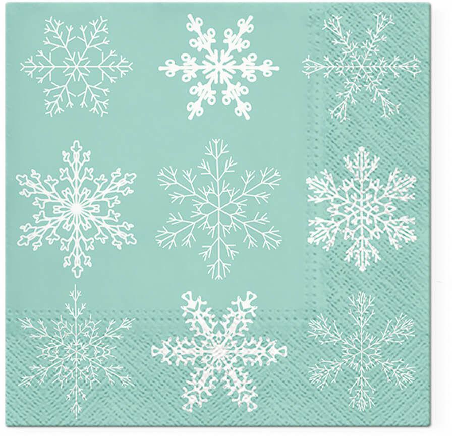 Serwetki bożonarodzeniowe Płatek śniegu miętowe - 33 cm - 20 szt.