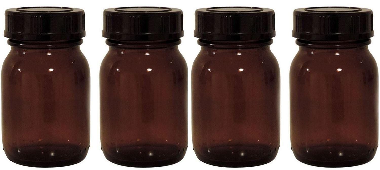 mikken - brązowe szkło apteczne zestaw 4 x 75 ml wraz z nakrętką i etykietami made in Germany