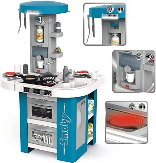 Smoby - Tefal Studio Tech-Edition  elektroniczna kuchnia do zabawy dla dzieci z wieloma funkcjami, garnkami, patelniami, sztućcami kuchennymi, piecem, dla dzieci od 3 lat