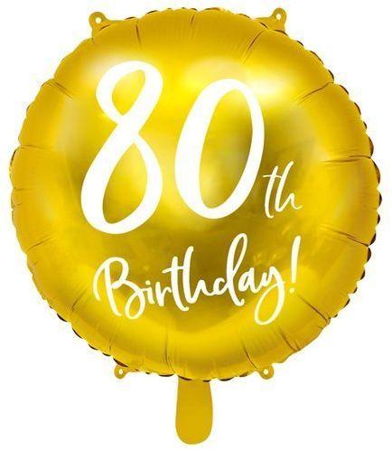Balon foliowy 80th Birthday złoty średnica 45cm FB24M-80-019