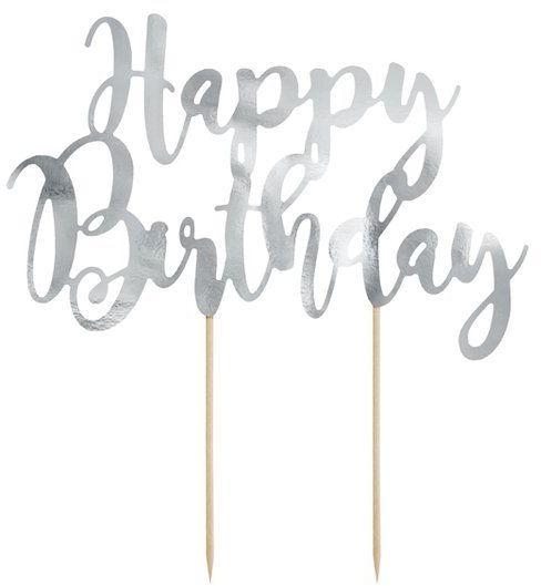 Topper na tort Happy Birthday srebrny 22,5cm KPT11-018M