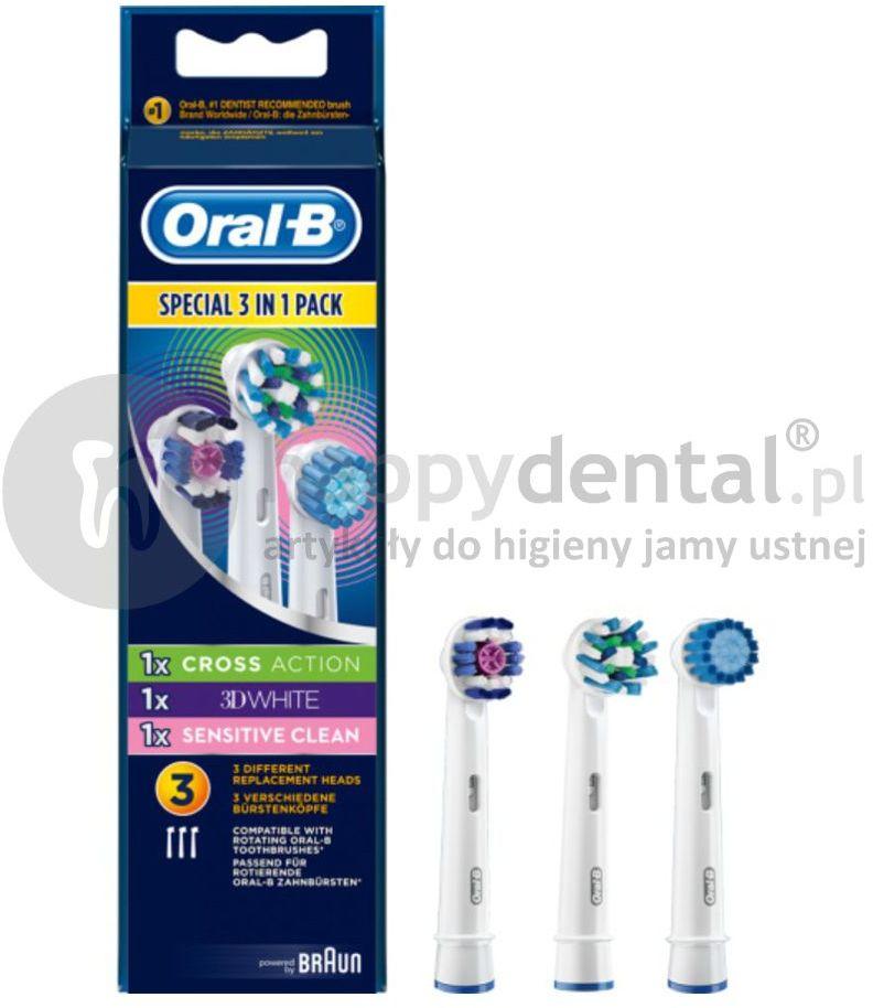 Zestaw końcówek do szczoteczek BRAUN Oral-B 3 in 1 MULTIPACK (ProWhite, CrossAction,Sensitive)