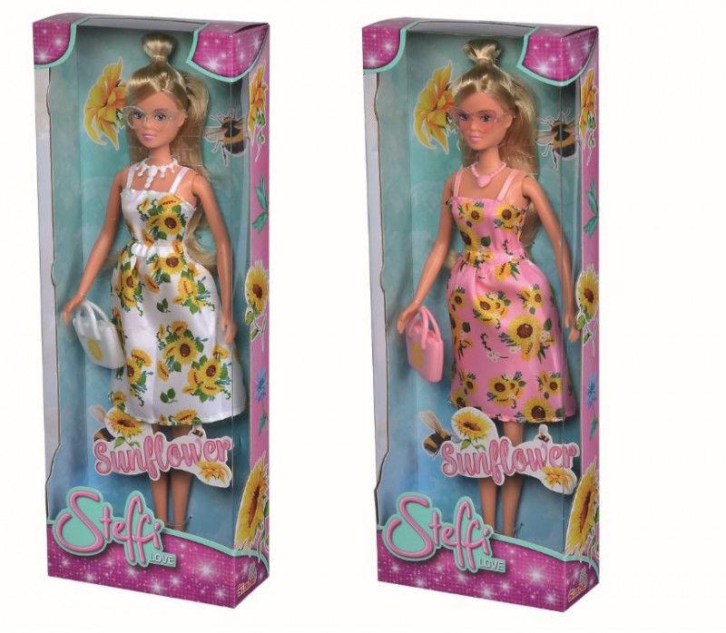 Lalka Steffi w słonecznikowej sukience 2 wzory Simba cena za 1 szt (105733476)