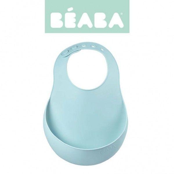 Beaba - Beaba Śliniak Silikonowy z Kieszonką Airy Green