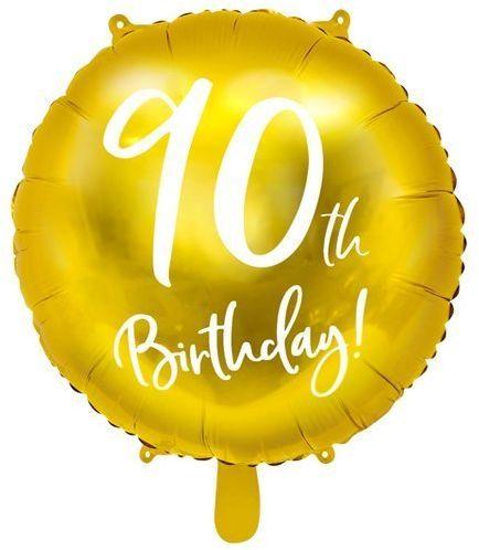 Balon foliowy 90th Birthday złoty średnica 45cm FB24M-90-019