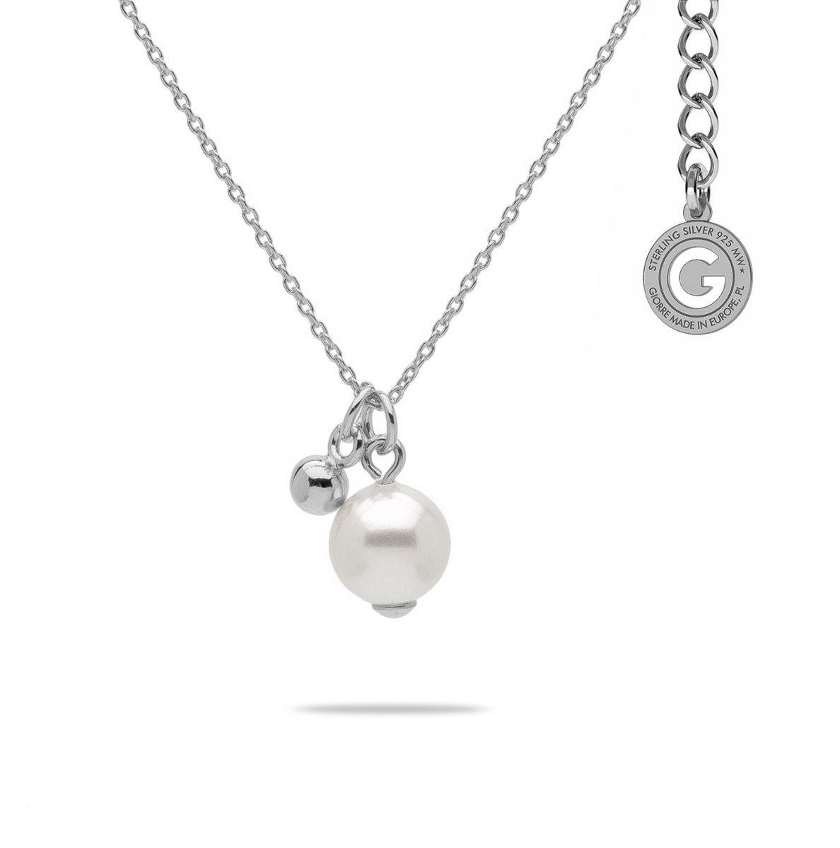 Naszyjnik z perłą Swarovski, srebro 925 : Perła - kolory - SWAROVSKI WHITE, Srebro - kolor pokrycia - Pokrycie platyną