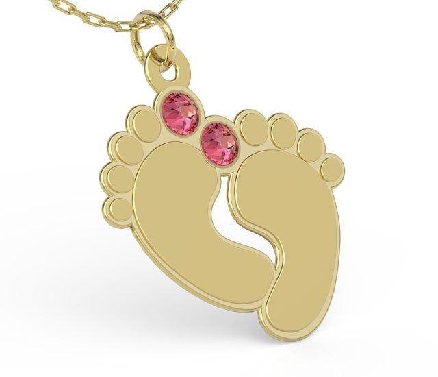 Naszyjnik ze srebra POZŁACANY z łańcuszkiem w kształcie stóp z cyrkoniami Swarovski ROSE - Grawer GRATIS!