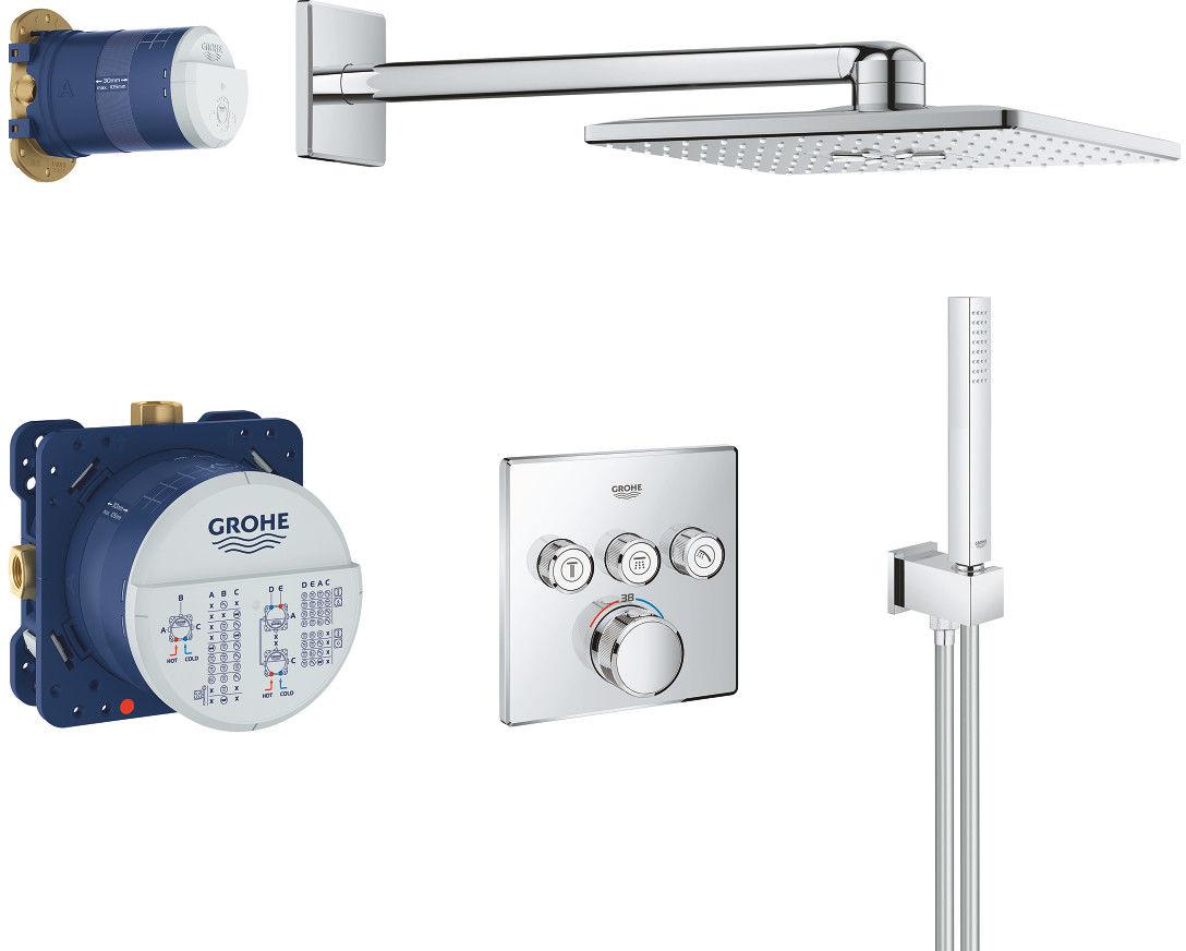 Grohtherm SmartControl zestaw prysznicowy podtynkowy termostatyczny z deszczownicą chrom - 34706000 Darmowa dostawa