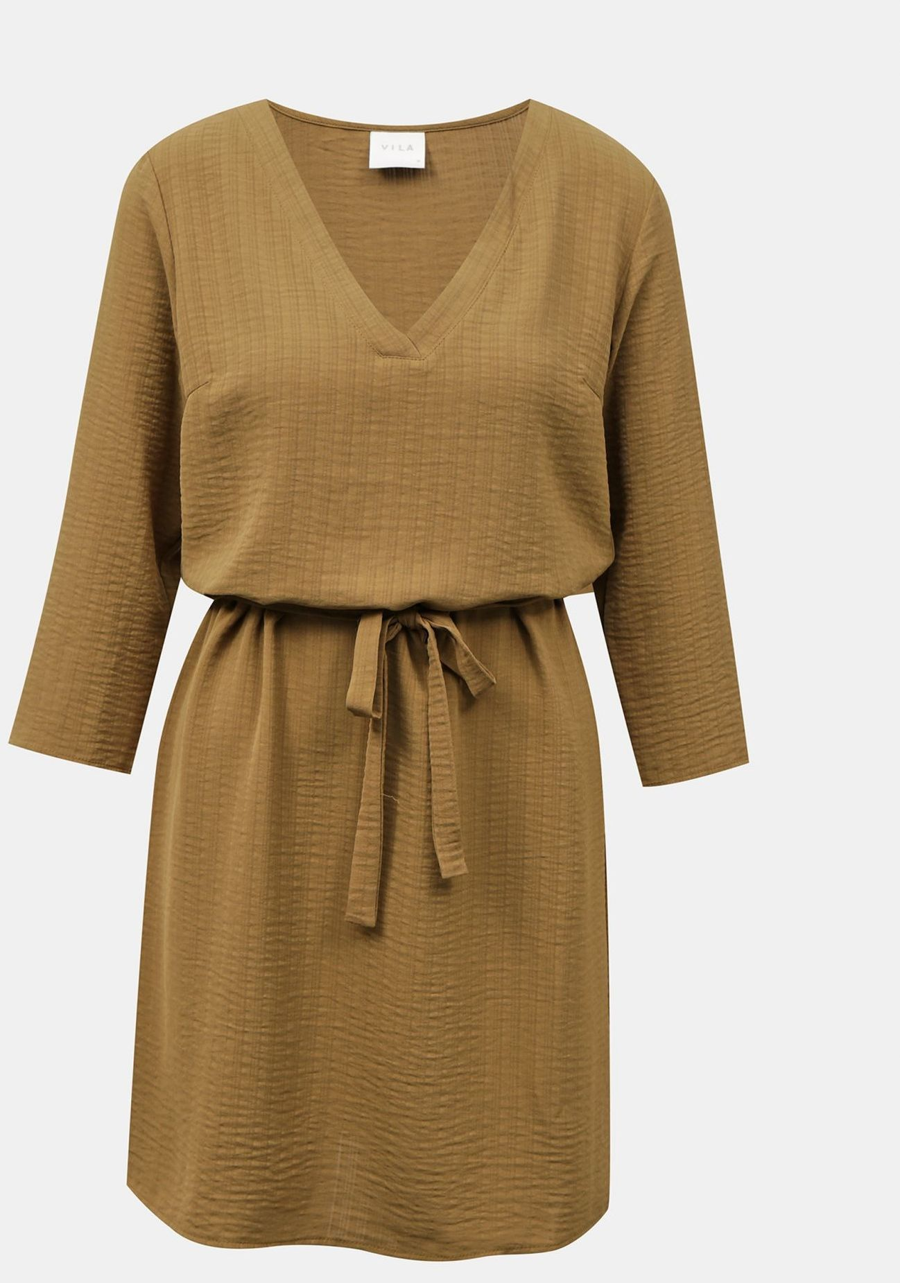 Vila brązowy sukienka Lovie