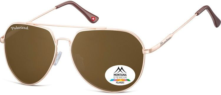 Brazowe Pilotki okulary aviatory Montana MP90D polaryzacyjne