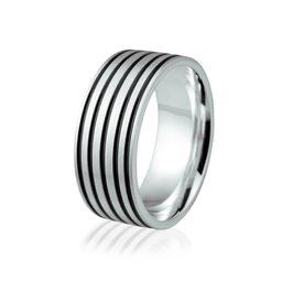Obrączka srebrna męska z czarną emalią - wzór Ag-112
