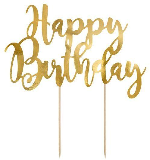 Topper na tort Happy Birthday złoty 22,5cm KPT11-019M