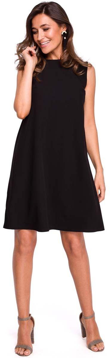 Czarna trapezowa sukienka z dekoltem na plecach
