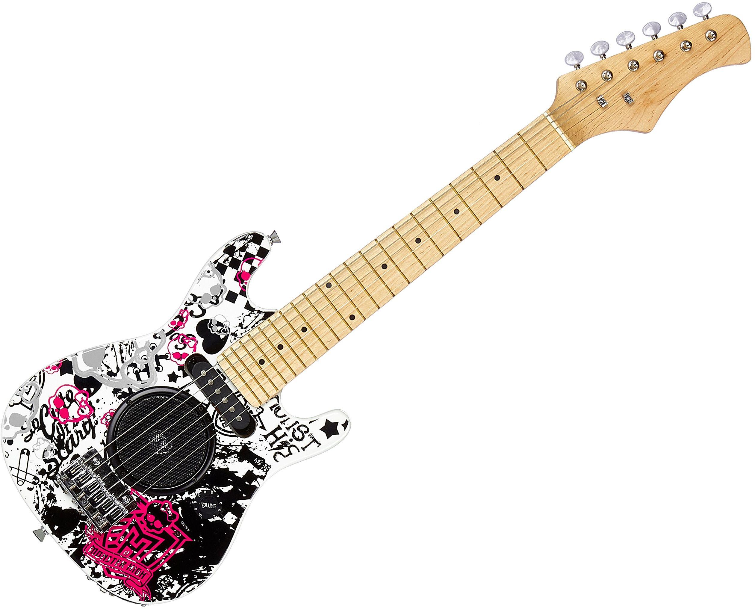 Lexibook K2500L gitara elektryczna ze zintegrowanym wzmacniaczem 6 W, wzór 100% girly, instrukcja obsługi w zestawie (może nie być dostępna w języku polskim), bateria, kolor czarny/biały