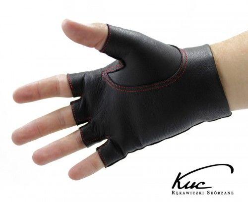 Skórzane rękawiczki bez palców - szyte kolorową nitką