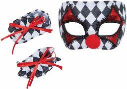 Bristol Novelty DS205 Clown maska i mankiety zestaw, dziecko, czarny, biały, czarny