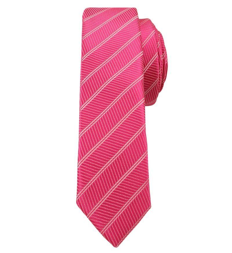 Różowy Stylowy Krawat (Śledź) Męski -ALTIES- 5 cm, Wąski, w Paski KRALTStani0228