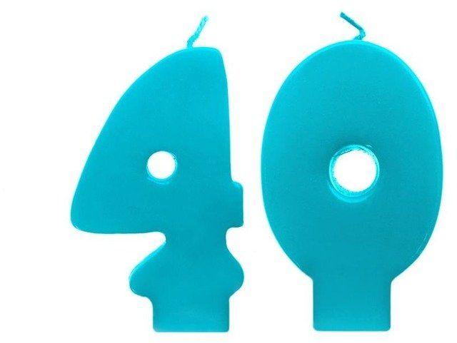 Świeczki urodzinowe 40 turkusowe scw40-083n