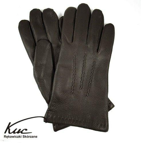 Ciepłe rękawiczki skórzane - skóra jelenia z ociepleniem z kaszmiru - ciemny brąz