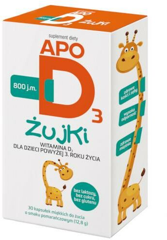Apo D3 żujki 800j.m. witamina d3 dla dzieci 3+ 30 sztuk