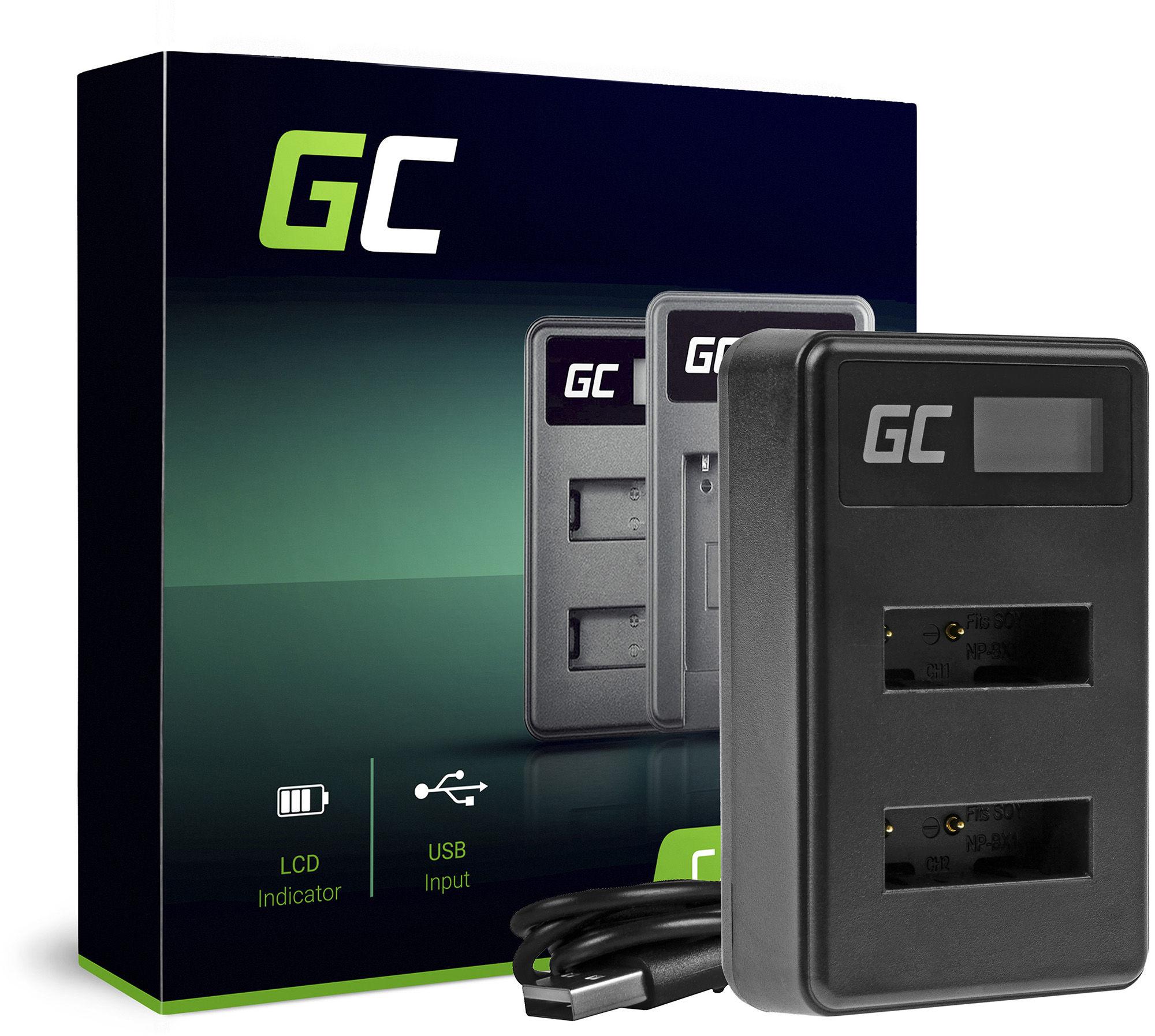 Podwójna ładowarka BC-TRX Green Cell  do Sony NP-BX1 Cyber-Shot-DSC AS10 AS15 AS50R HX50V HX300 RX1 RX1R RX100MII RX100V RX100V