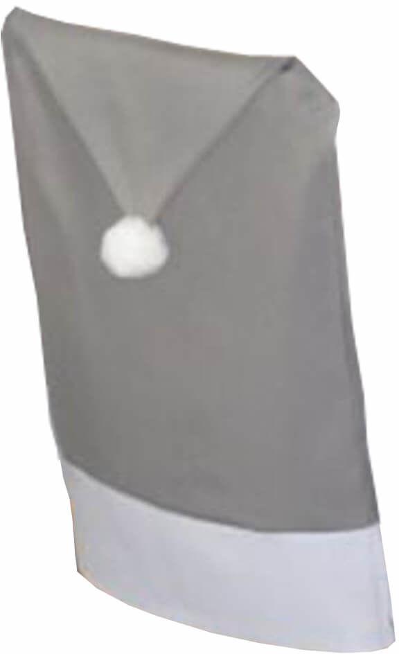 Pokrowiec na krzesło Czapka Mikołaja szara na święta Bożego Narodzenia - 1 szt.