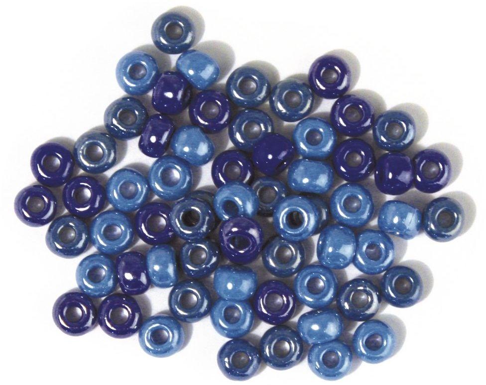 Rayher 1439200 szklane koraliki z dużymi otworami nieprzejrzysta średnica 6,7 mm 55 g pudełko niebieskie/turkusowe odcienie