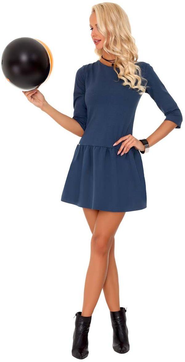 Niebieska casualowa sukienka dzianinowa z obniżonym stanem