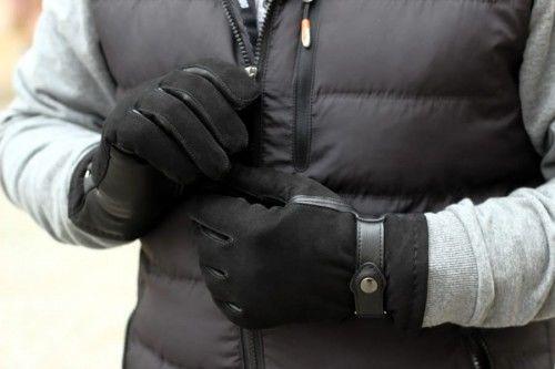Ciepłe i solidne męskie rękawiczki ocieplane, ściągane paskiem - czarne
