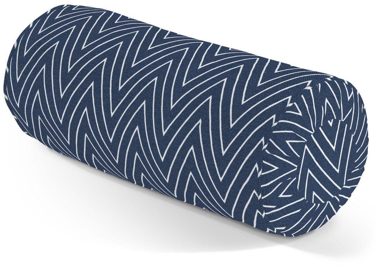 Poduszka wałek z zakładkami, białe zygzaki na granatowym tle, Ø20  50 cm, Comics