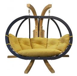 Zestaw: stojak Sintra + fotel Swing Chair Double antracyt, musztardowy Sintra + Swing Chair Double (4)