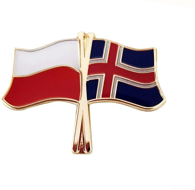 Flaga Polska - Islandia, przypinka