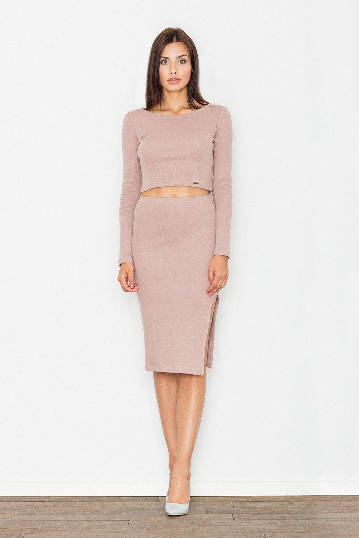 Jasno Różowy Dwuczęściowy Komplet Krótka Bluzka + Ołówkowa Midi Spódnica