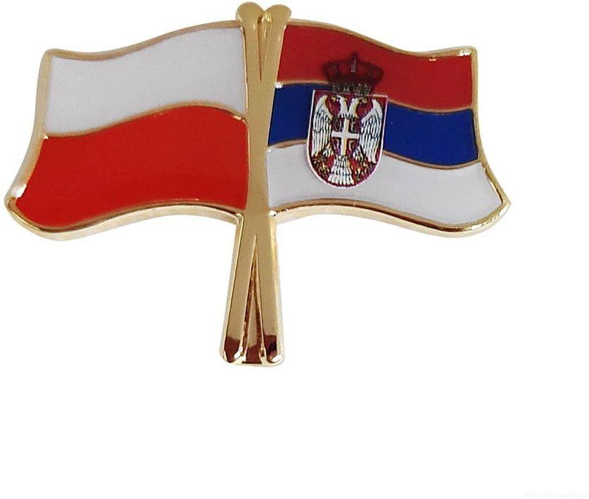 Flaga Polska - Serbia, przypinka