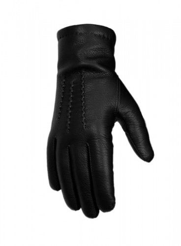 Ciepłe rękawiczki skórzane - skóra jelenia - czarne