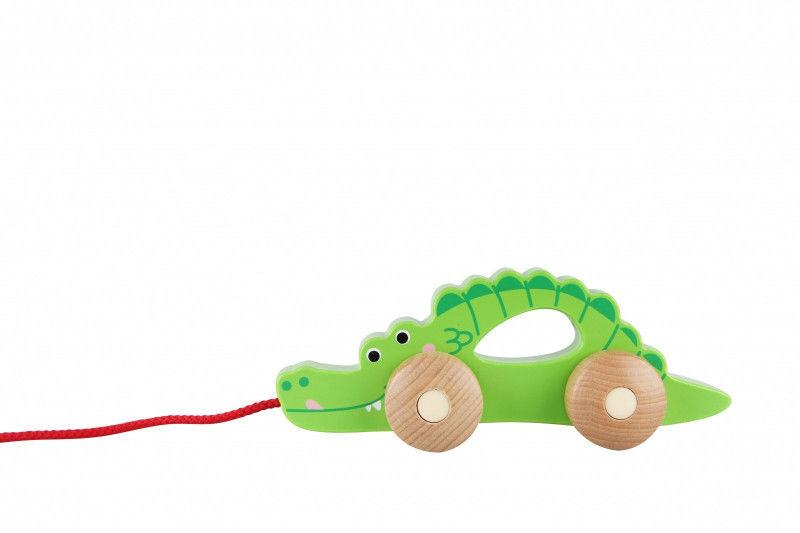Krokodyl do ciagnięcia na sznurku Drewniany