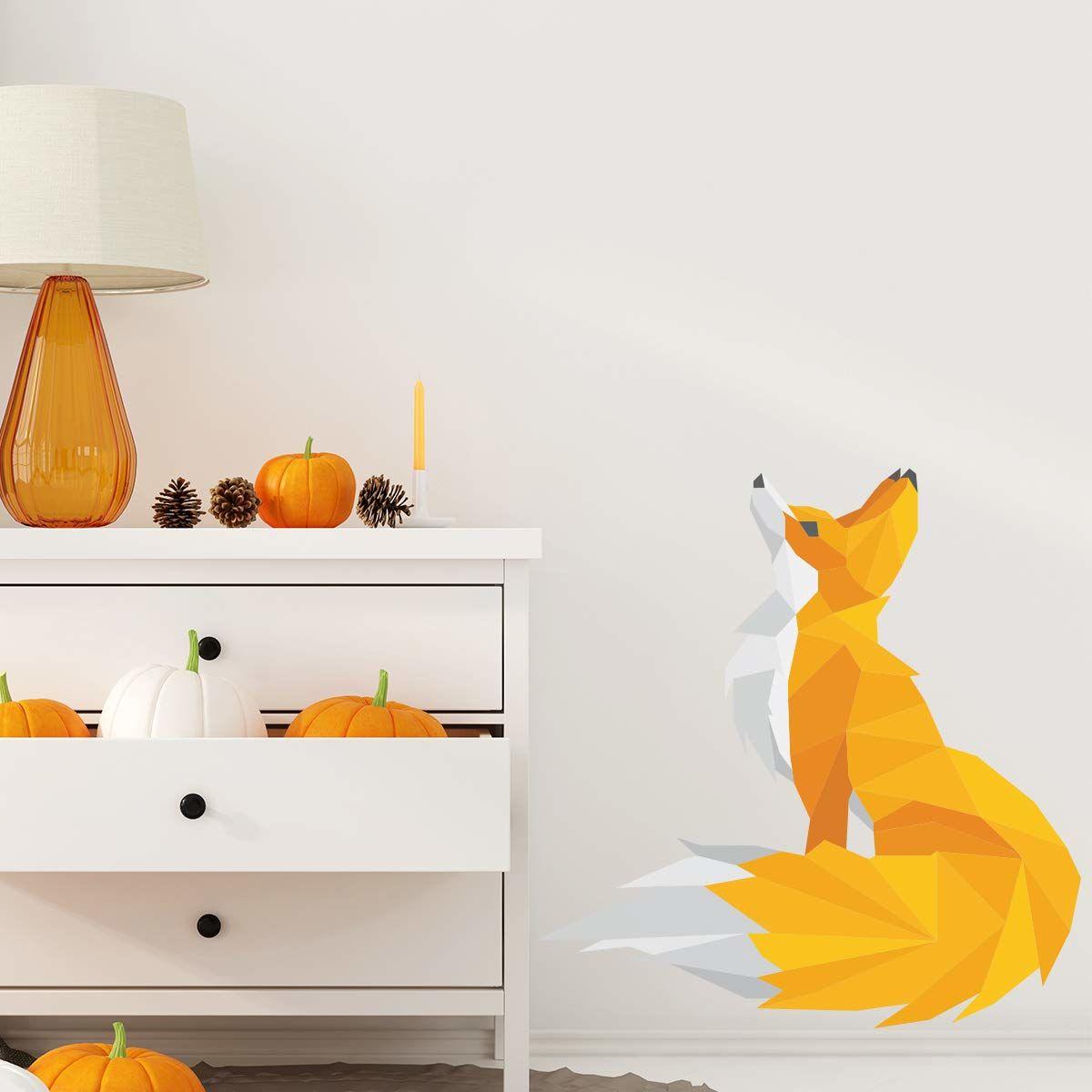 Origami naklejka samoprzylepna, lis  dekoracja ścienna do sypialni i salonu  40 x 40 cm