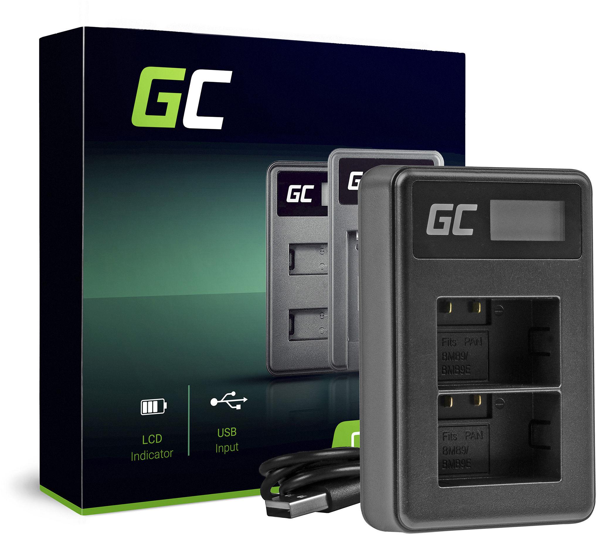 Podwójna ładowarka DE-A83 Green Cell  do Panasonic DMW-BMB9, Lumix DC FZ82 DMC FZ72 FZ62 FZ45 FZ48 FZ70 FZ60 FZ100 FZ150
