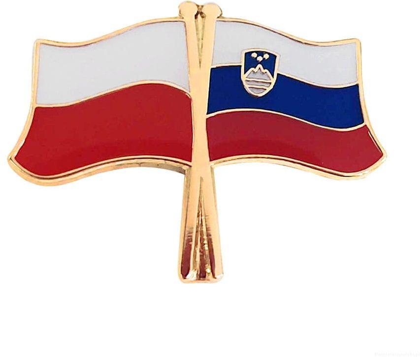 Flaga Polska - Słowenia, przypinka