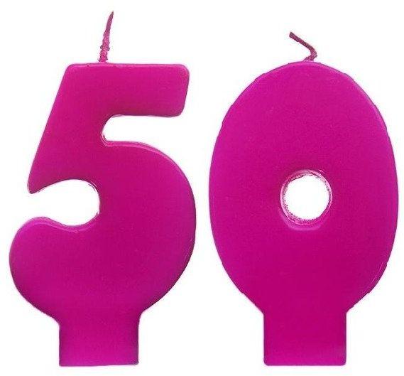 Świeczki urodzinowe 50 różowe scw50-006n