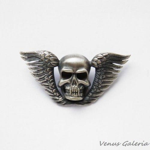 Wisiorek srebrny - Black scull - czaszka ze skrzydłami