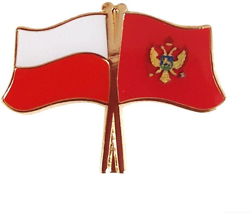 Flaga Polska - Czarnogóra, przypinka