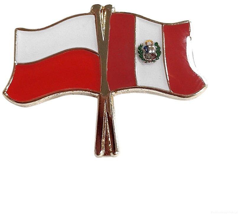 Flaga Polska - Peru, przypinka
