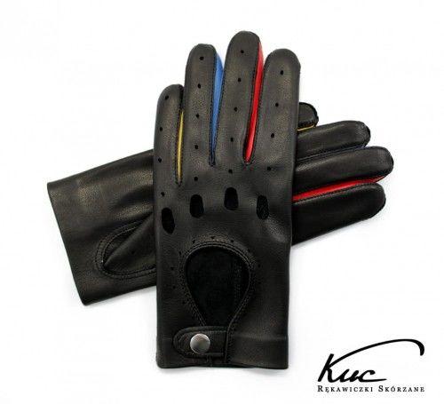 Damskie rękawiczki skórzane samochodowe - kolorowe wstawki